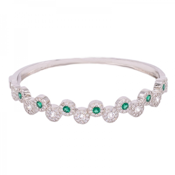 925 Sterling Silver Bangle with Green Nano and White CZ