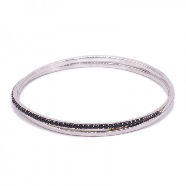 Silm and Simple Oval Silver Bangle with small Black Nano