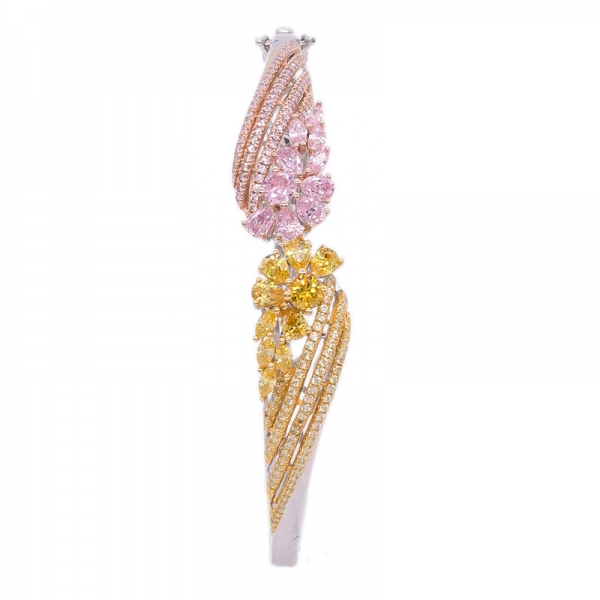 Yellow and Pink CZ Bangle jewelry in 925 Sterling Silver