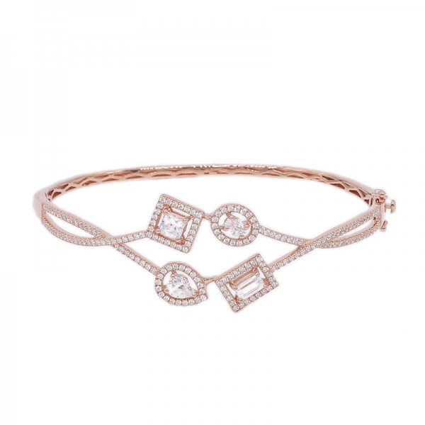 Four Stones Silver Bangle jewelry in Rose Gold Plating