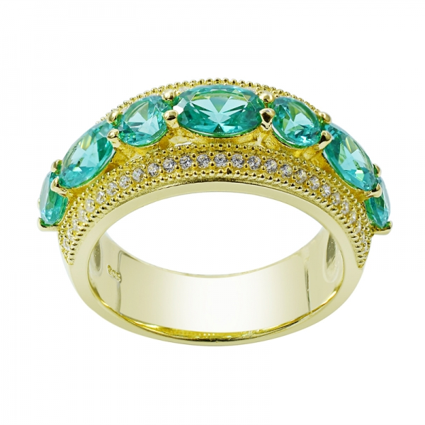 Oval and Round Paraiba Gold Plated Ring in 925 Sterling Silver