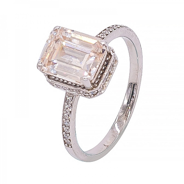 Beautiful Silver Morganite Peach Ring For Women