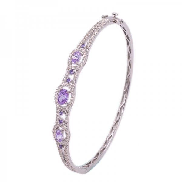 Gorgeous Kunzite CZ Bangle jewelry in Rhodium plated 925 Sterling Silver