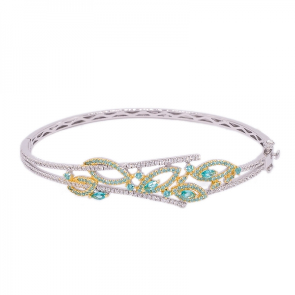 925 Marquise & Round Shape Paraiba Silver Bangle Jewelry