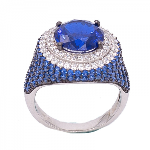 925 Spectacular Round Blue Nano Silver Ring