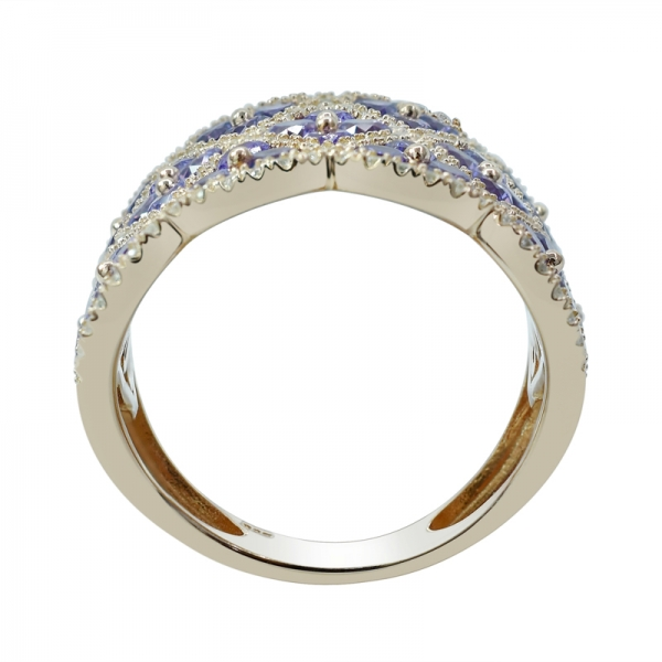 Rose Gold Plated 925 Silver Ring with Amethyst CZ