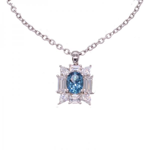 Shining 925 Blue Diamond Pendant