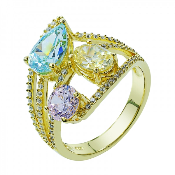 Yellow Gold Plated Silver Ring with Colorful Main Stones