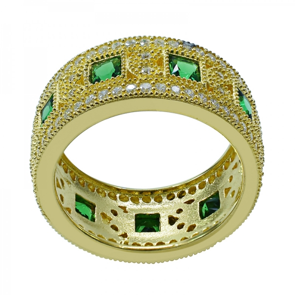 Square Green Nano Yellow Gold Plated Eternity Ring in Silver