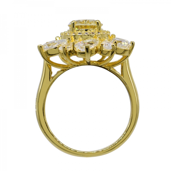 Lovely Floral Yellow Gold Plated Silver Ring