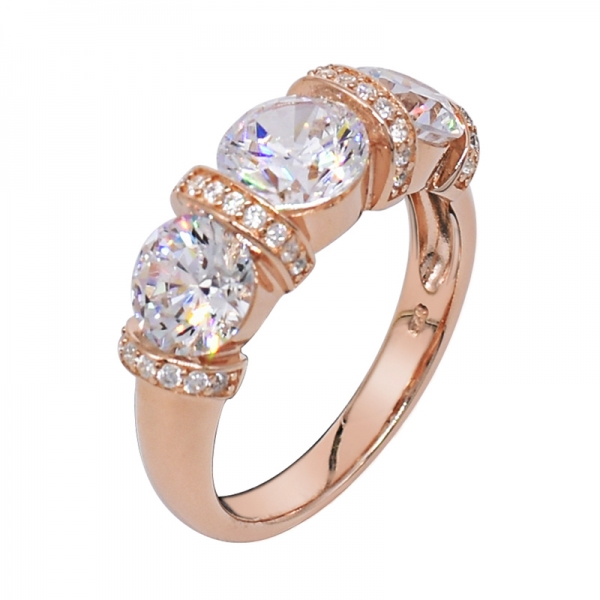 Graceful Rose Gold Plated Ring In Silver With Three Round CZ