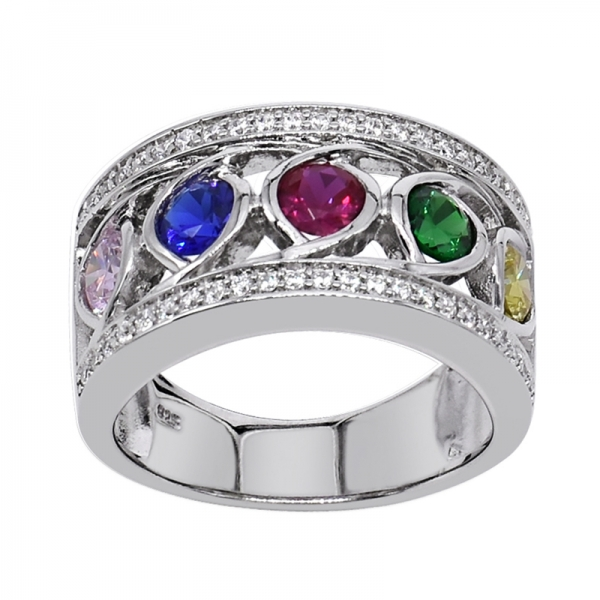 925 Fashionable Rhodium Ring With Multicoloured Stones