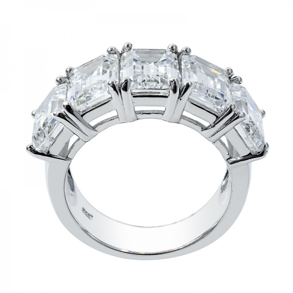 Fancy Emerald Cut White & Tanzanite CZ Ring in 925 Sterling Silver