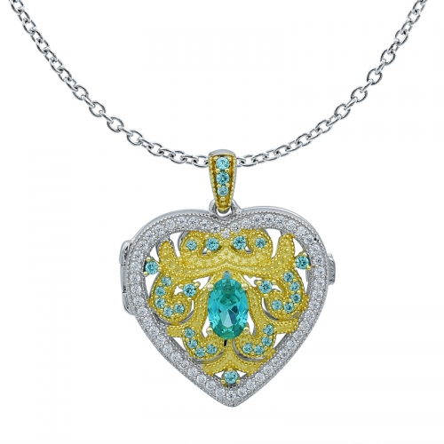 Heart Shape Silver Locket Pendant Setting with Paraiba and White