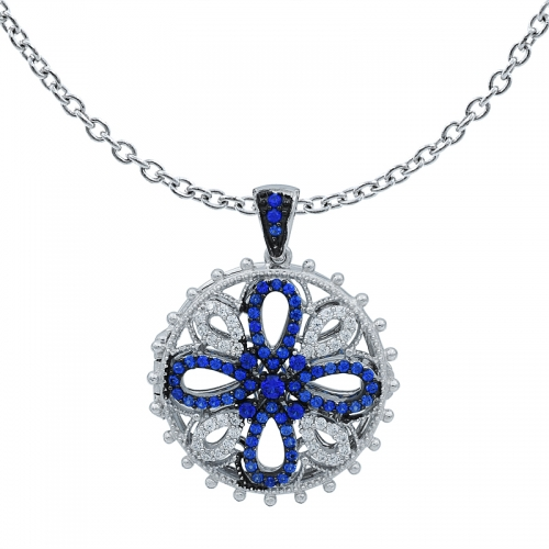 Round Shape Silver Locket Pendant Setting with Blue and White Stones