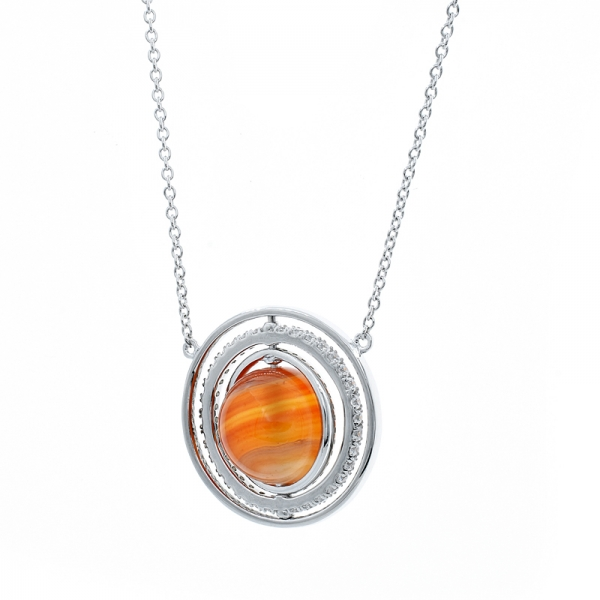 925 Sterling Silver Carnelian Necklace
