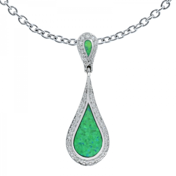 925 Silver Green Lab Opal Pendant Jewelry