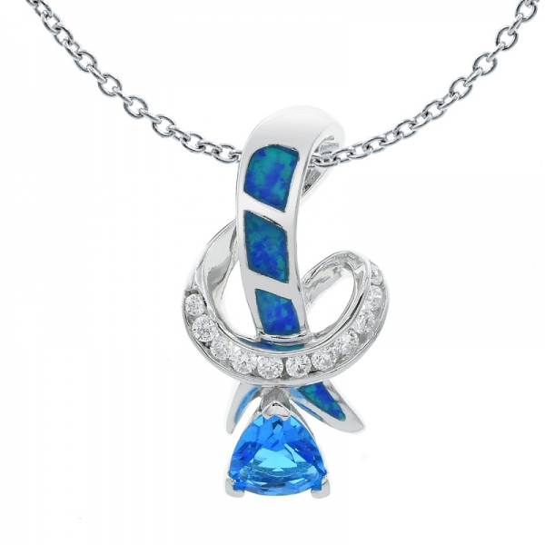Fascinating 925 Silver Opal Pendant With Ocean Blue Stones