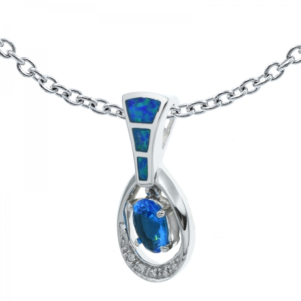 Opal Pendant With Ocean Blue Stones In 925 Sterling Silver