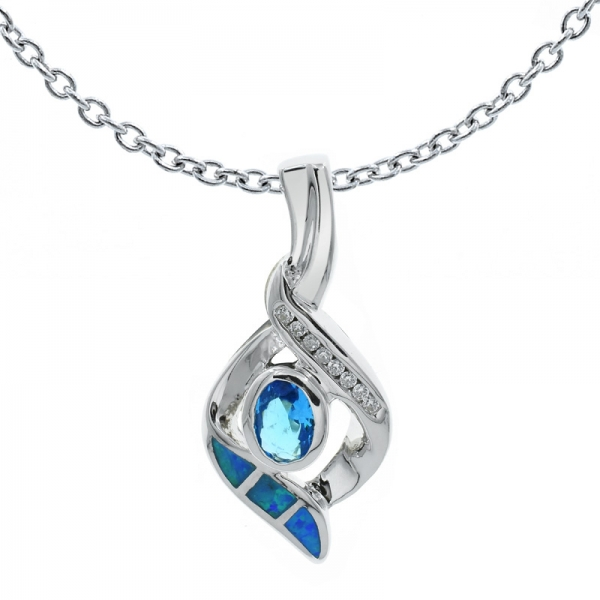 925 Silver Captivating Ladies Opal Pendant Jewelry