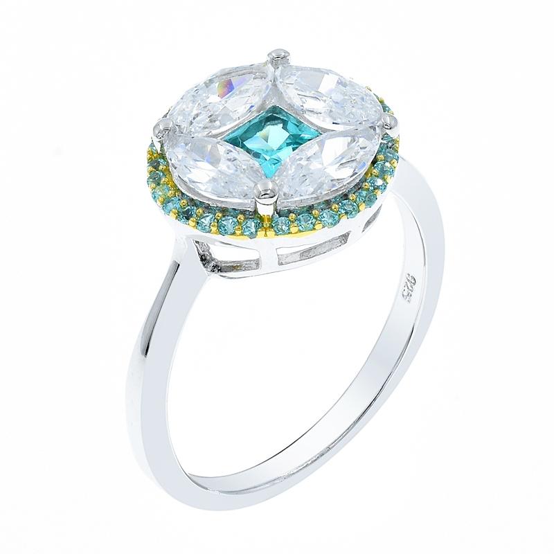 wholesale round shape 925 silver ring with white cz paraiba