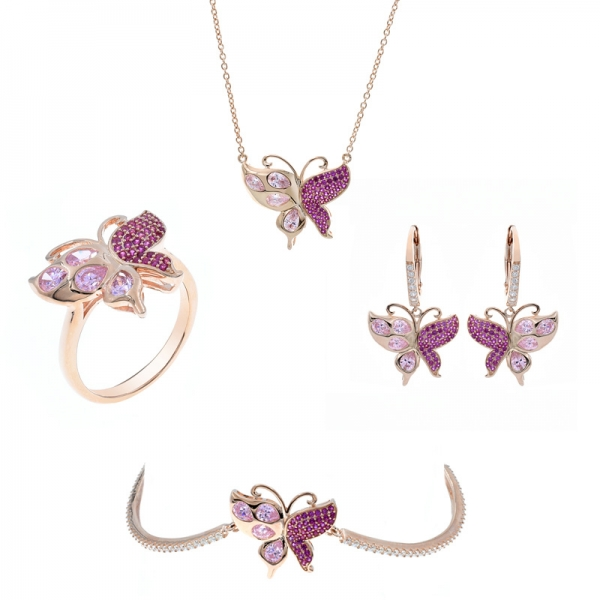 Exquisite 925 Silver Butterfly Jewelry Set