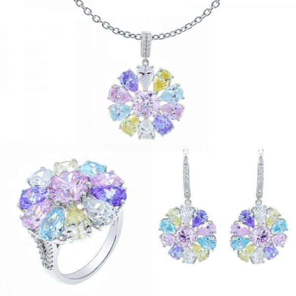 Lovely Multicolor Floral Jewelry Set in 925 Sterling Silver