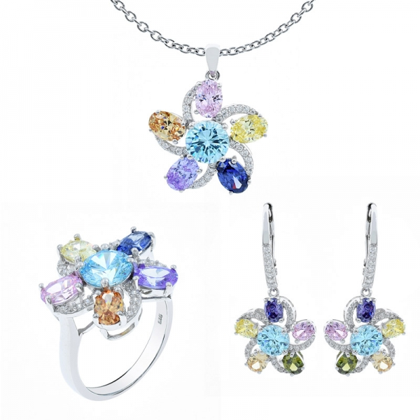 Multicolor Flower Shape Jewelry Set in Sterling Silver