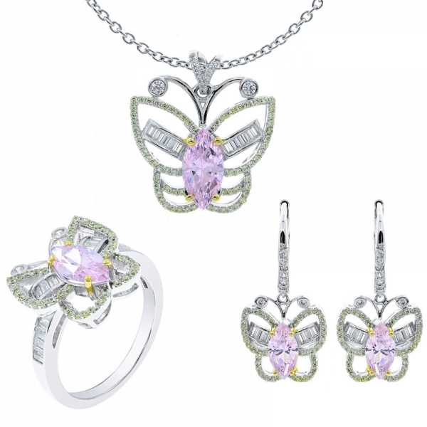 Wonderful Butterfly Silver Ladies Jewelry Set
