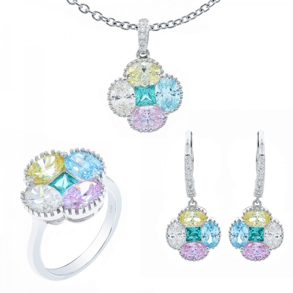 Multicolor Four Leaf Clover Jewelry Set in Sterling Silver