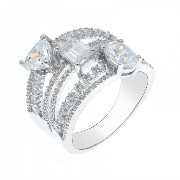 Fashionable 925 Multi Lines Silver Ring
