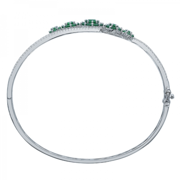 Refined Ladies Bypass Floral Silver Bangle