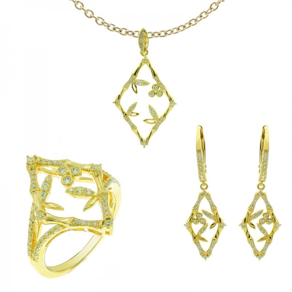 Gold Plated Bamboo Jewelry Set in 925 Sterling Silver