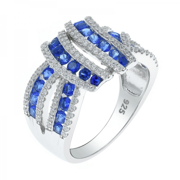 925 Intricate Silver Ring With Splendid Blue Nano & White CZ
