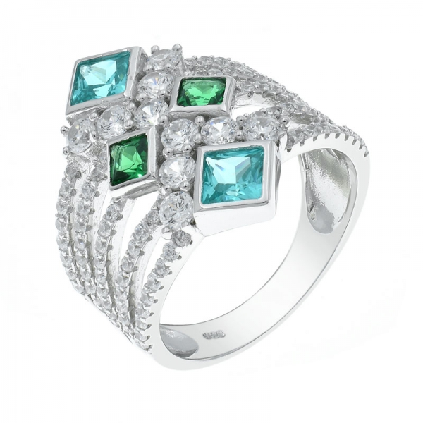 925 Five Row Silver Ring With Paraiba & Green Stones