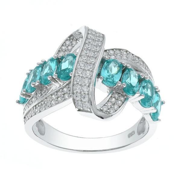 Classic Paraiba Intricate Silver Ring For Ladies
