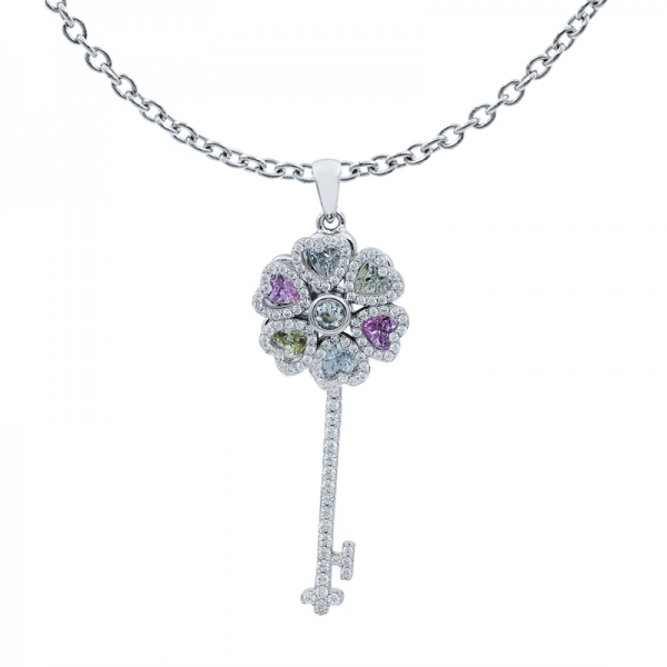 Floral Spinning Key Pendant in 925 Sterling Silver