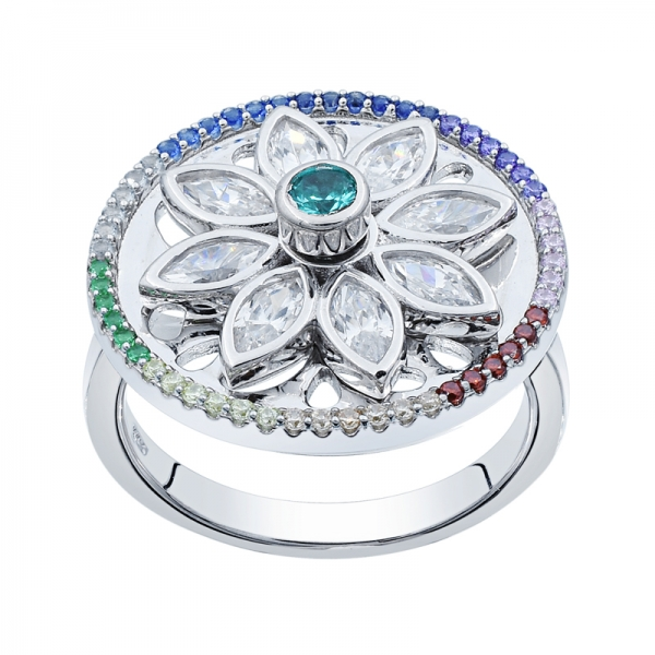 925 Floral Spinning Silver Ring For Ladies