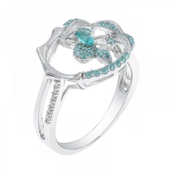 Individual 925 Paraiba Silver Ring For Ladies
