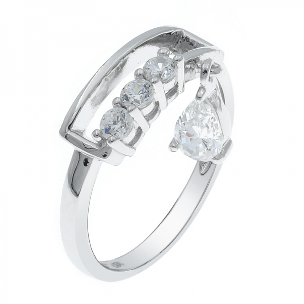 Individual 925 Silver White CZ Ring For Ladies