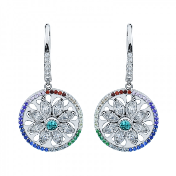 925 Glorious Spinning Flower Silver Earrings