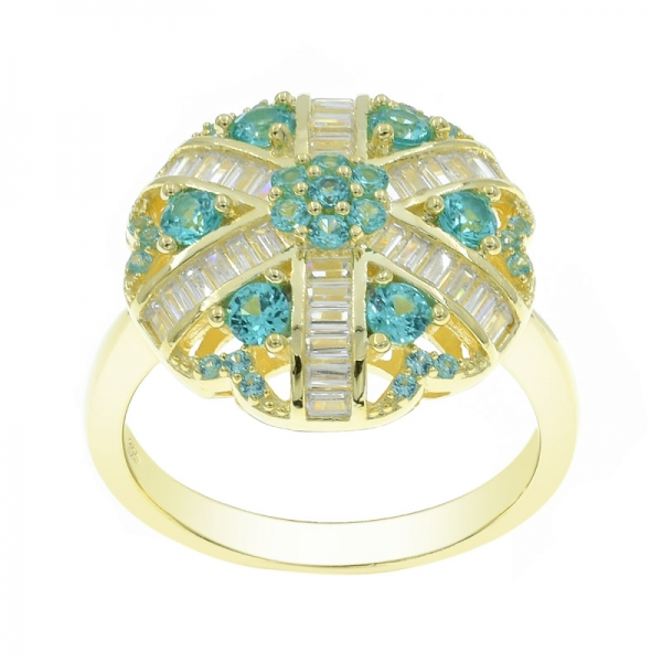 925 Silver Stylish Paraiba Ring in Gold Plating