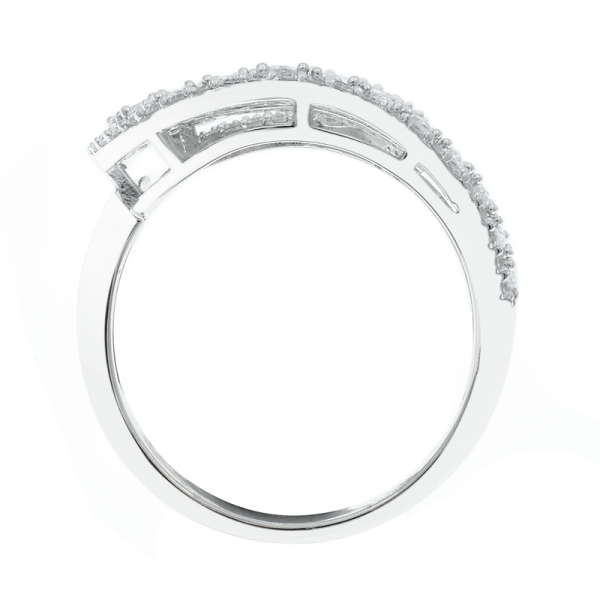 925 Individual Twist White CZ Silver Ring