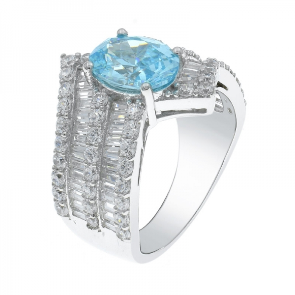 925 Timeless Bypass Silver Ring With Oval Aqua CZ