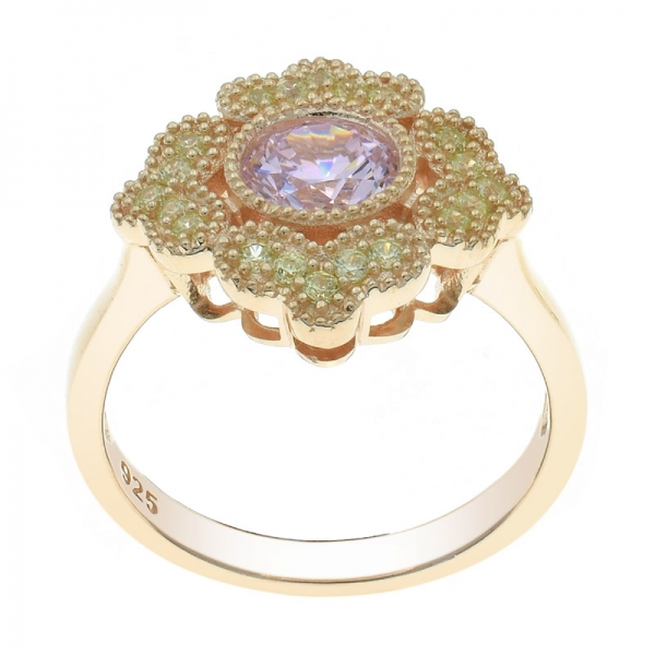 925 Rose Gold Plated Floral Diamond Pink CZ Ring