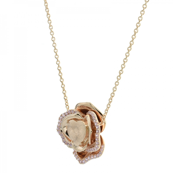 925 Charming Rose Gold Plated Flower Necklace