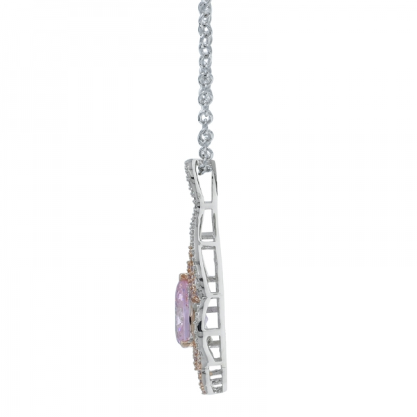 925 Precious Women Necklace With Fancy Pear Shape Diamond Pink CZ
