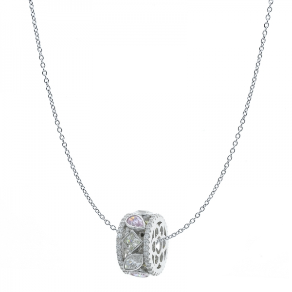 925 Rhodium Plated Round Shape Silver Pendant