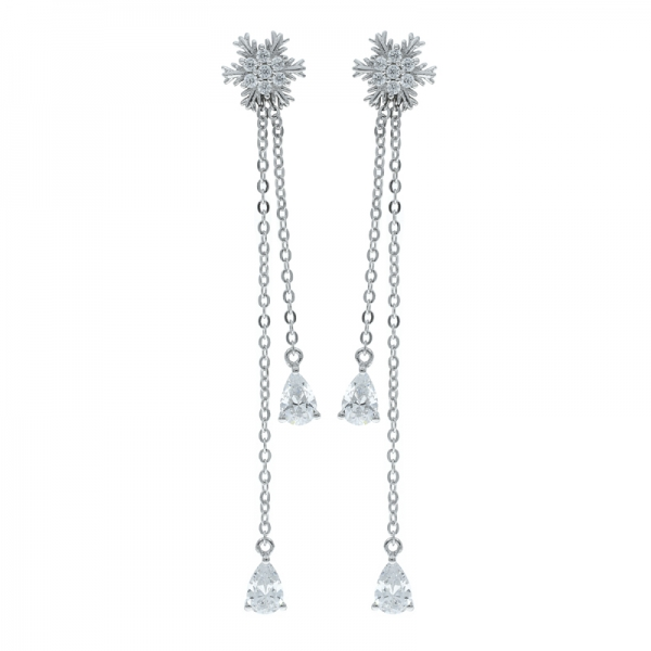 925 Silver Snowflake Dangling Earrings