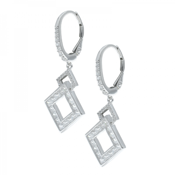 925 Silver Sightly Double Square Ladies Earrings